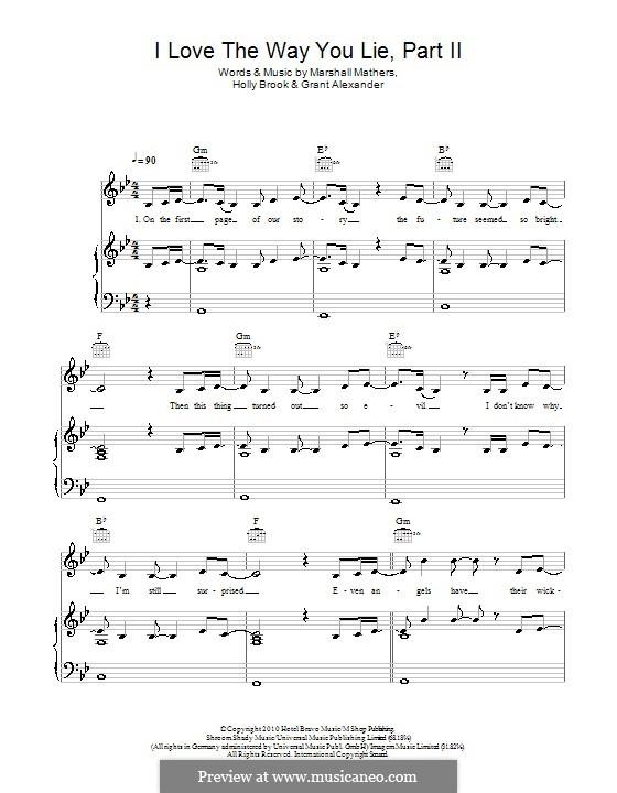 Love the Way You Lie. Part II (Rihanna feat. Eminem): Für Stimme und Klavier (oder Gitarre) by Alexander Grant, Holly Brook Hafermann, Marshall Mathers