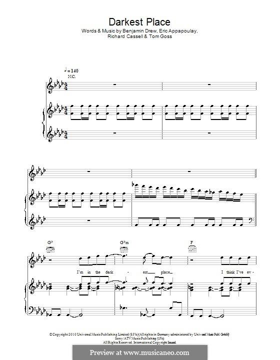 Darkest Place (Plan B): Für Stimme und Klavier (oder Gitarre) by Benjamin Drew, Eric Appapoulay, Richard Cassell, Tom Goss