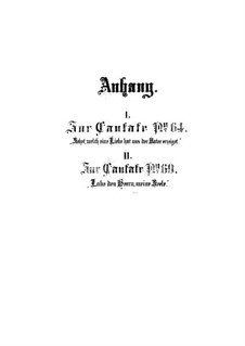 Anhang zum Kantaten, BWV 64, 69: Anhang zum Kantaten by Johann Sebastian Bach