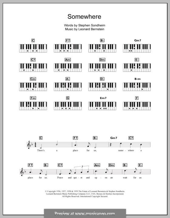 Somewhere (from West Side Story): Für Keyboard by Leonard Bernstein