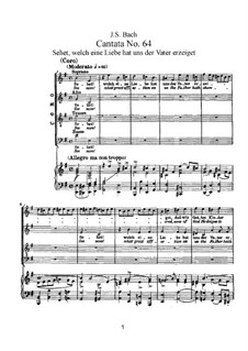 Sehet, welch eine Liebe hat uns der Vater erzeiget, BWV 64: Klavierauszug mit Singstimmen by Johann Sebastian Bach