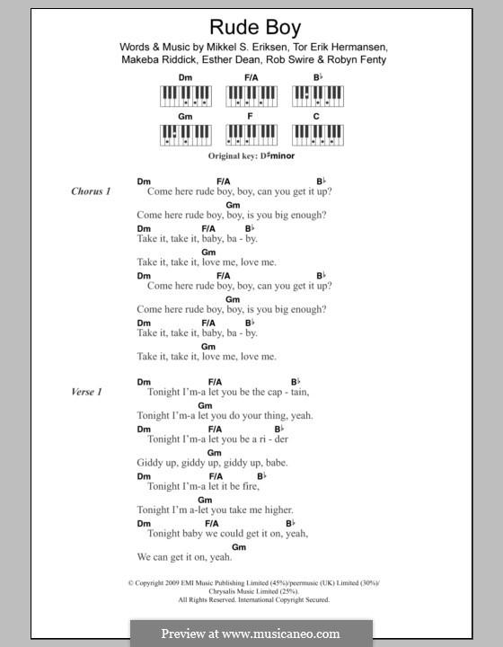 Rude Boy (Rihanna): Text und Akkorde für Klavier by Esther Dean, Makeba Riddick, Mikkel Storleer Eriksen, Rob Swire, Tor Erik Hermansen