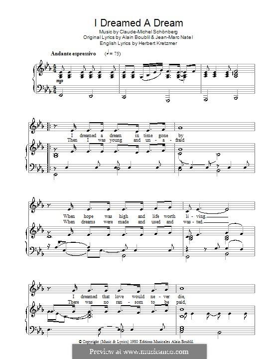 I Dreamed a Dream: Für Stimme und Klavier by Claude-Michel Schönberg