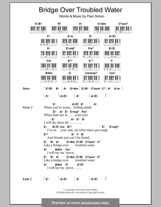Bridge Over Troubled Water: Text und Akkorde für Klavier by Paul Simon