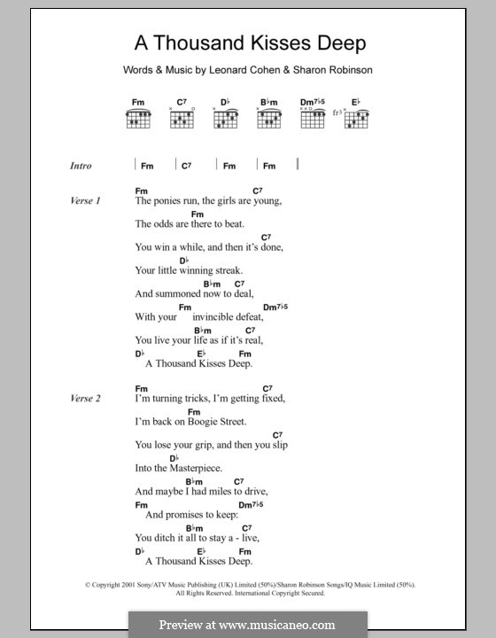 A Thousand Kisses Deep: Text und Akkorde by Leonard Cohen, Sharon Robinson