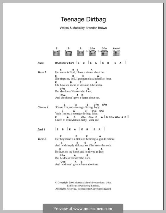 Teenage Dirtbag (Wheatus): Text und Akkorde by Brendan Brown