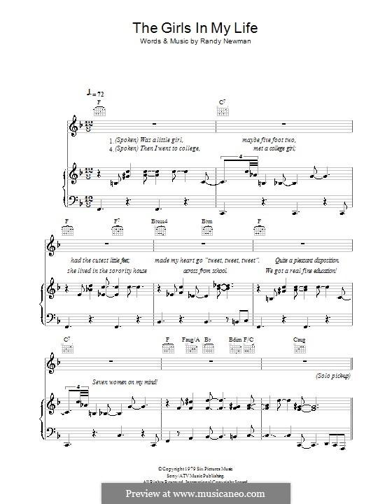 The Girls in My Life: Für Stimme und Klavier (oder Gitarre) by Randy Newman