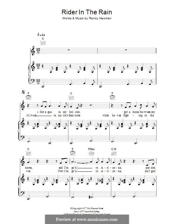 Rider in the Rain: Für Stimme und Klavier (oder Gitarre) by Randy Newman