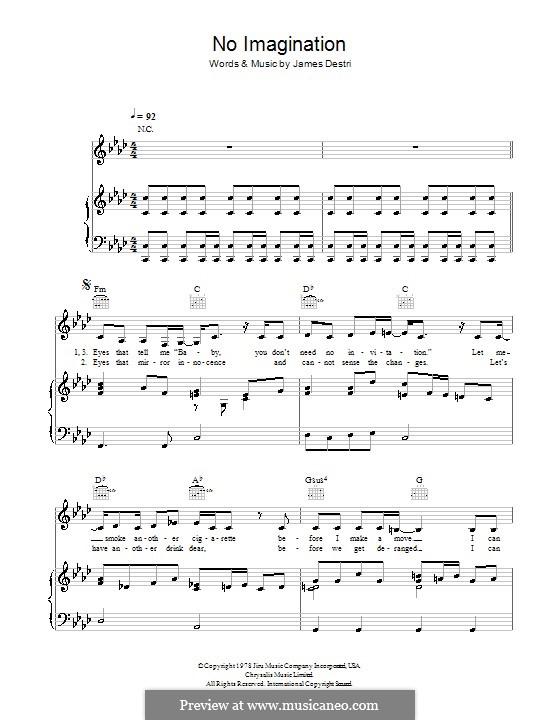 No Imagination (Blondie): Für Stimme und Klavier (oder Gitarre) by James Mollica Destri