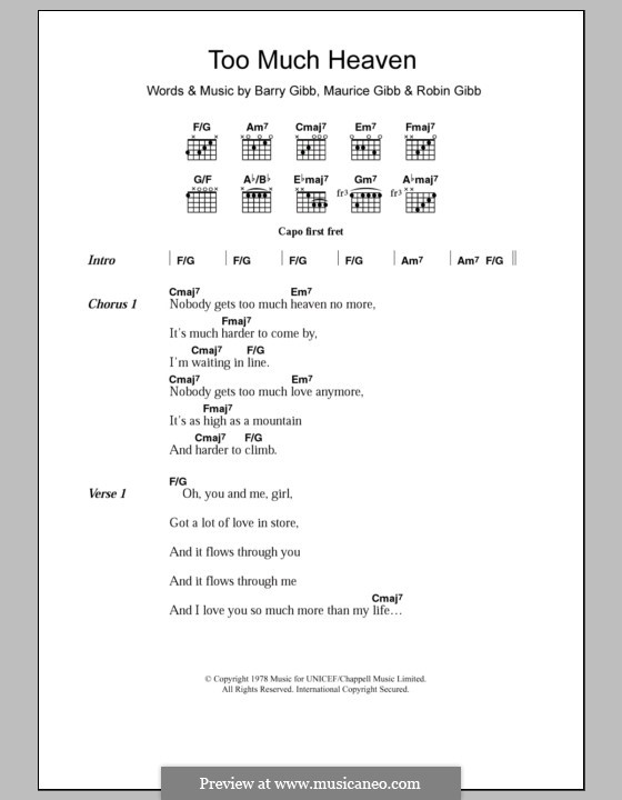 Too Much Heaven (The Bee Gees): Text und Akkorde by Barry Gibb, Maurice Gibb, Robin Gibb