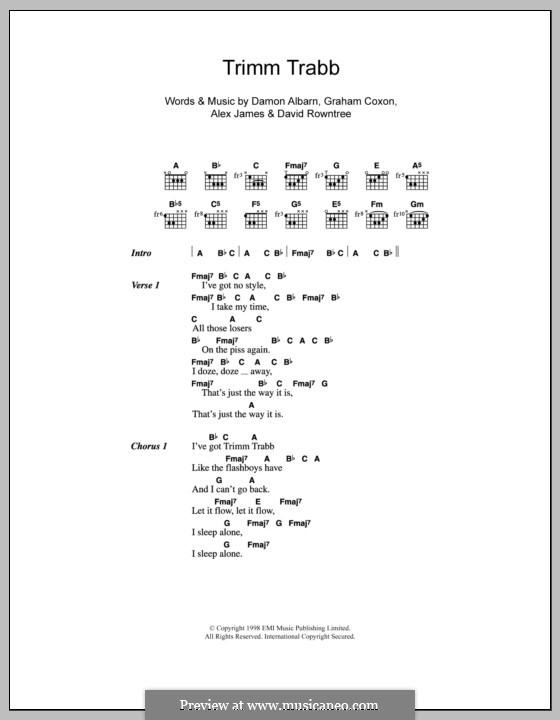 Trimm Trabb (Blur): Texte und Akkorde by Alex James, Damon Albarn, David Rowntree, Graham Coxon