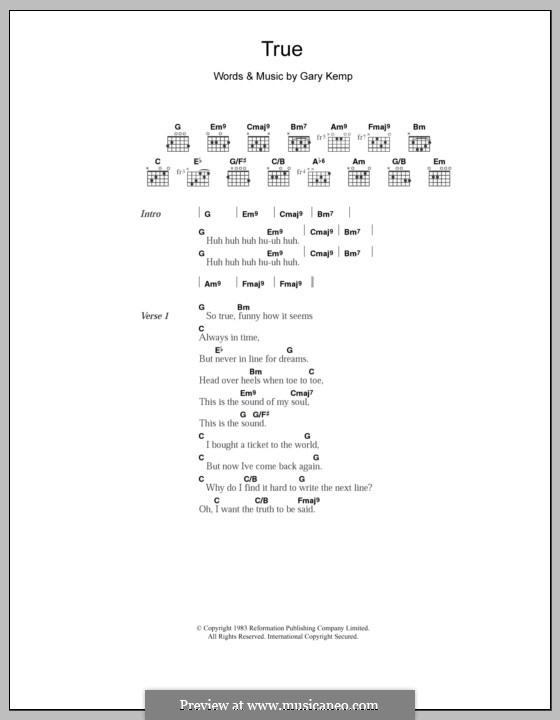 True (Spandau Ballet): Text und Akkorde by Gary Kemp