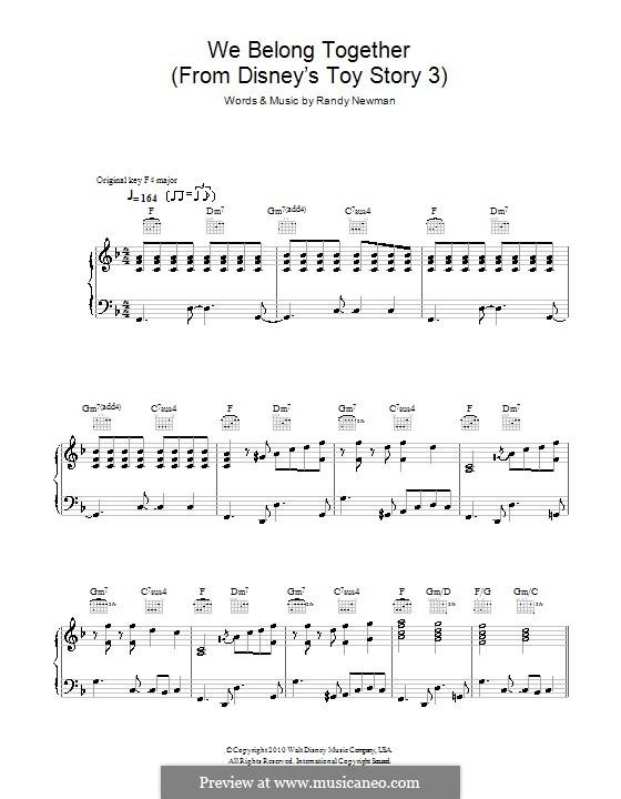 We Belong Together (from Toy Story 3): Für Stimme und Klavier (oder Gitarre) by Randy Newman
