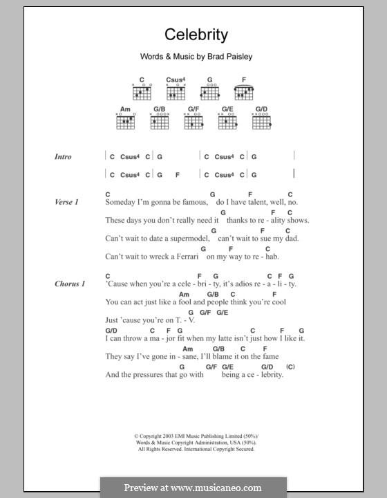 Celebrity: Texte und Akkorde by Brad Paisley