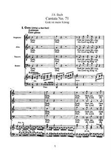 Gott ist mein König, BWV 71: Bearbeitung für Stimmen und Klavier by Johann Sebastian Bach