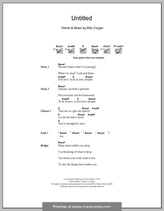 Untitled (The Smashing Pumpkins): Text und Akkorde by Billy Corgan