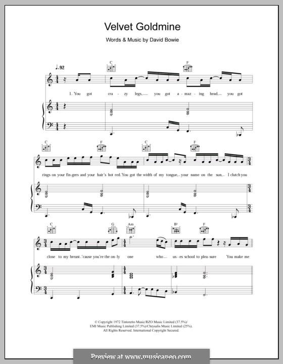 Velvet Goldmine: Für Stimme und Klavier (oder Gitarre) by David Bowie