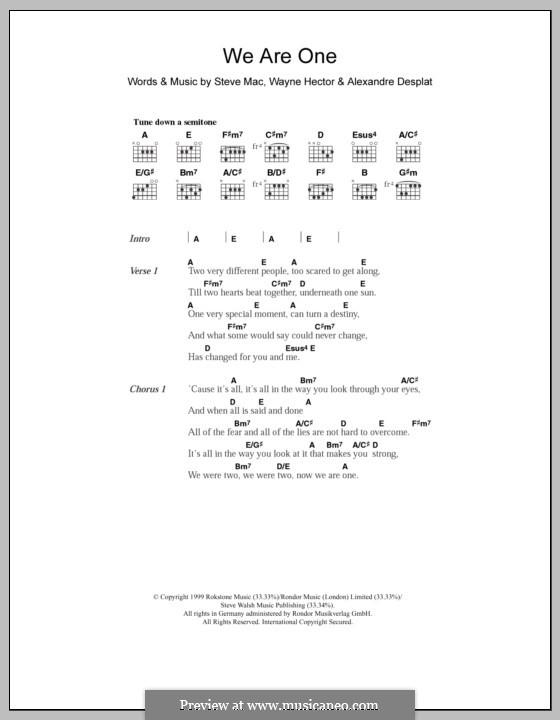 We Are One (Westlife): Text und Akkorde by Alexandre Desplat, Steve Mac, Wayne Anthony Hector