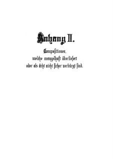 Anhang II zu 'Übrige Choralvorspiele': Anhang II zu 'Übrige Choralvorspiele' by Johann Sebastian Bach