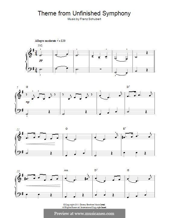 Sinfonie Nr.8 in h-Moll 'Unvollendete', D.759: Thema. Klavierversion für Anfänger by Franz Schubert