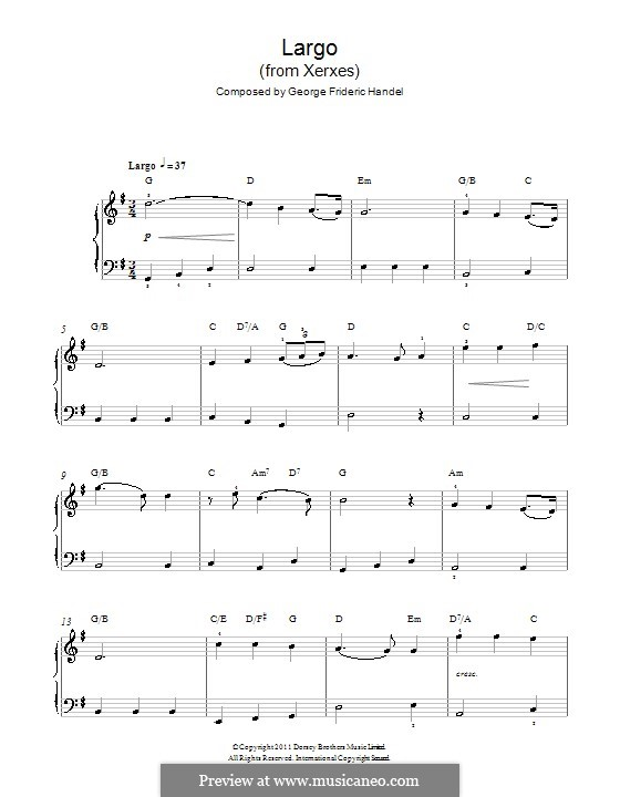 Largo: For easy piano with chords by Georg Friedrich Händel