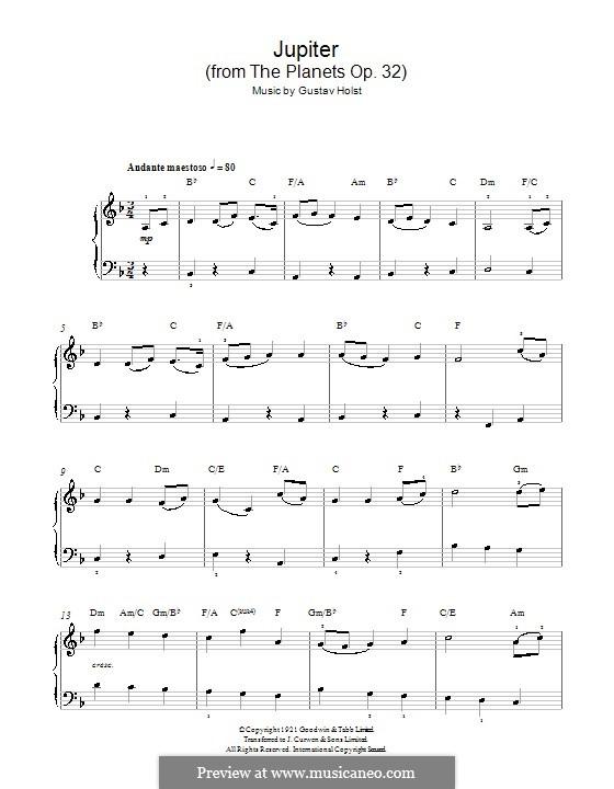 Jupiter: Klavierversion für Anfänger (mit Akkorde) by Gustav Holst