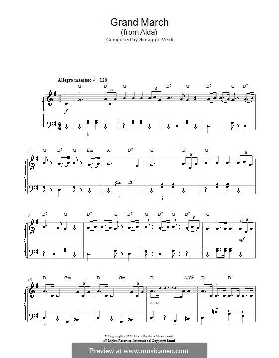 Marsch: Einfache Noten für Klavier by Giuseppe Verdi