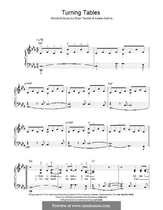 Turning Tables: Einfache Noten für Klavier (c-Moll) by Adele, Ryan B Tedder