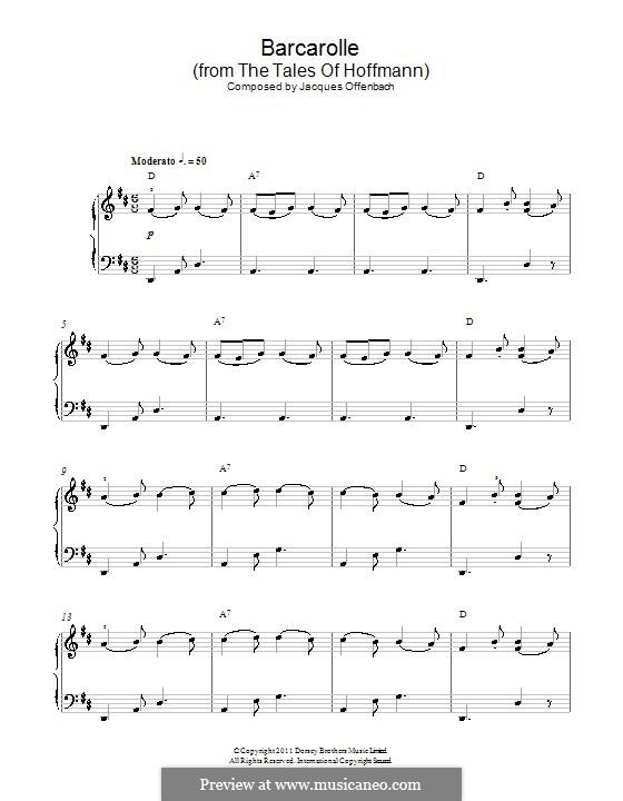 Barcarolle (Printable Scores): Klavierversion für Anfänger (mit Akkorde) by Jacques Offenbach