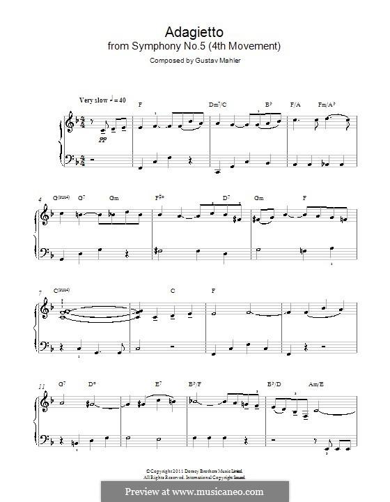 Sinfonie Nr.5 in cis-Moll: Adagietto. Version für Klavier by Gustav Mahler
