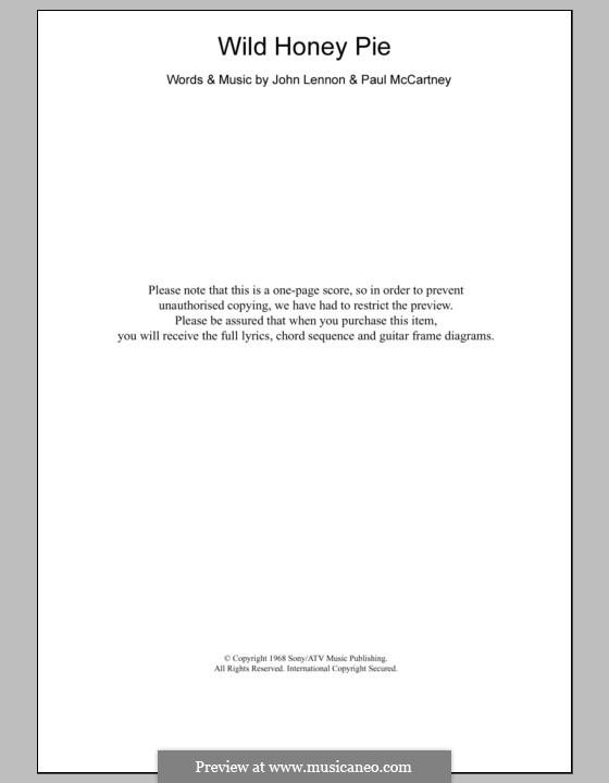 Wild Honey Pie (The Beatles): Text und Akkorde by John Lennon, Paul McCartney