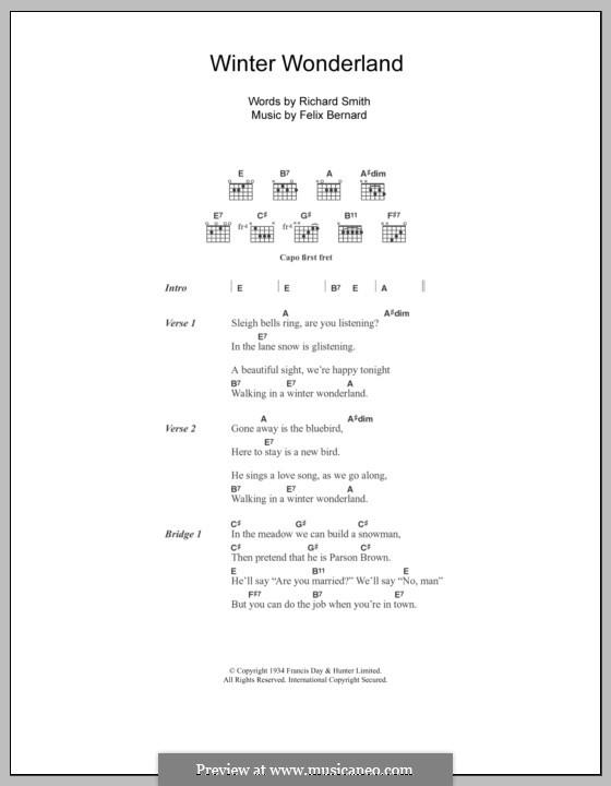 Winter Wonderland: Lyrics and chords (Johnny Mathis) by Felix Bernard