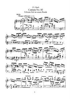 Erfreute Zeit im neuen Bunde, BWV 83: Bearbeitung für Stimmen und Klavier by Johann Sebastian Bach