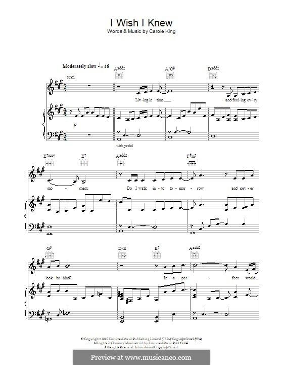 I Wish I Knew: Für Stimme und Klavier (oder Gitarre) by Carole King