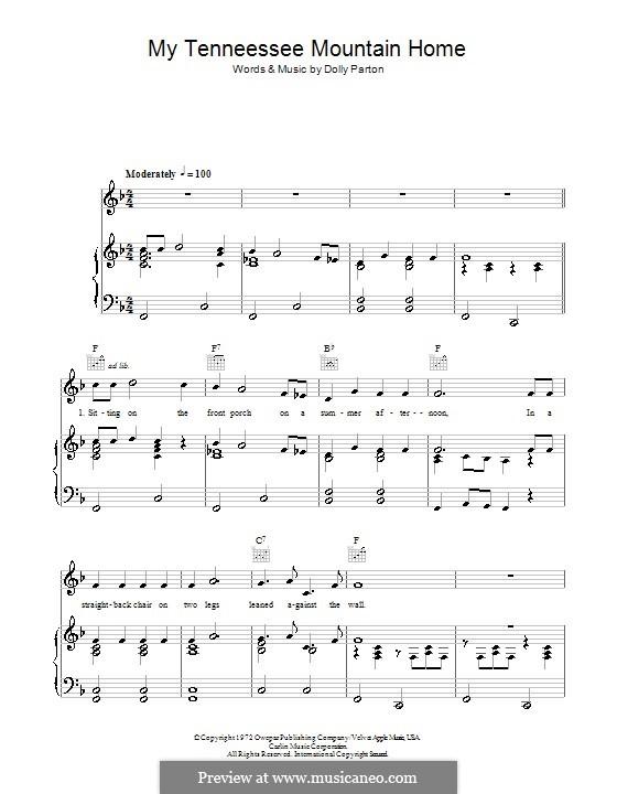 My Tennessee Mountain Home: Für Stimme und Klavier (oder Gitarre) by Dolly Parton