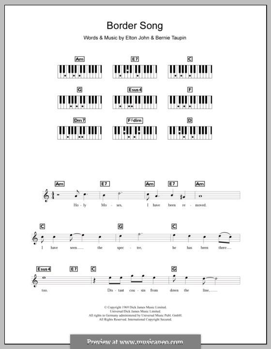 Border Song: Für Keyboard by Elton John