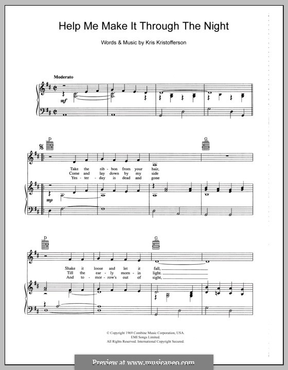 Help Me Make It Through the Night: Für Stimme und Klavier (oder Gitarre) by Kris Kristofferson