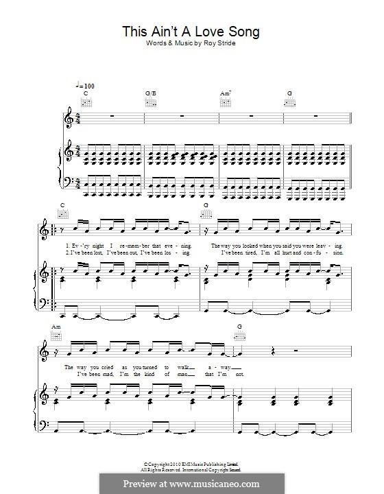 This Ain't a Love Song (Scouting for Girls): Für Stimme und Klavier (oder Gitarre) by Roy Stride