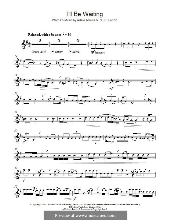 I'll be Waiting: Für Altsaxophon by Adele, Paul Epworth
