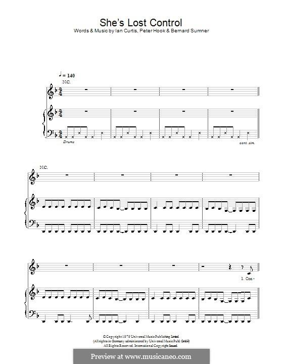 She's Lost Control (Joy Division): Für Stimme und Klavier (oder Gitarre) by Bernard Sumner, Ian Curtis, Peter Hook, Stephen Morris