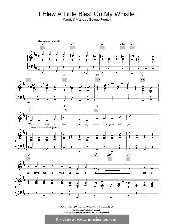 I Blew a Little Blast on My Whistle: Für Stimme und Klavier (oder Gitarre) by George Formby