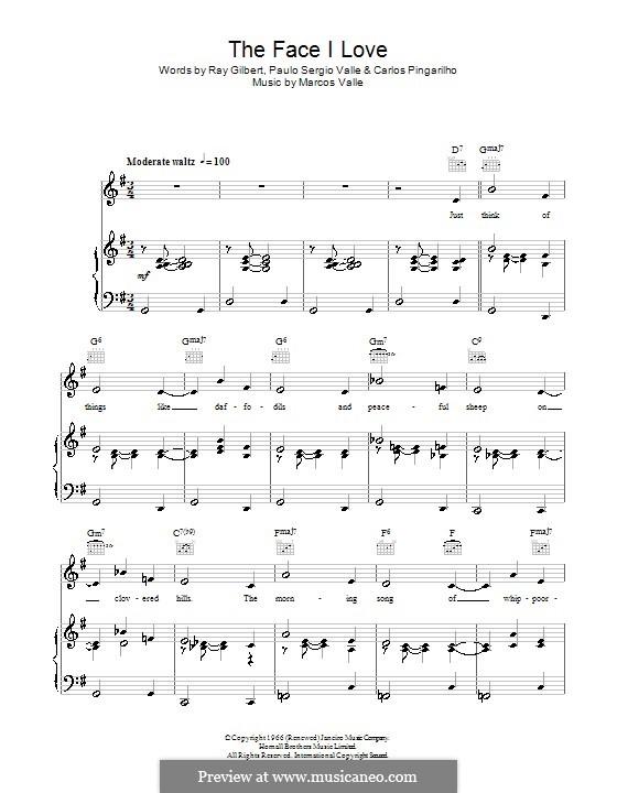 The Face I Love: Für Stimme und Klavier (oder Gitarre) by Marcos Valle