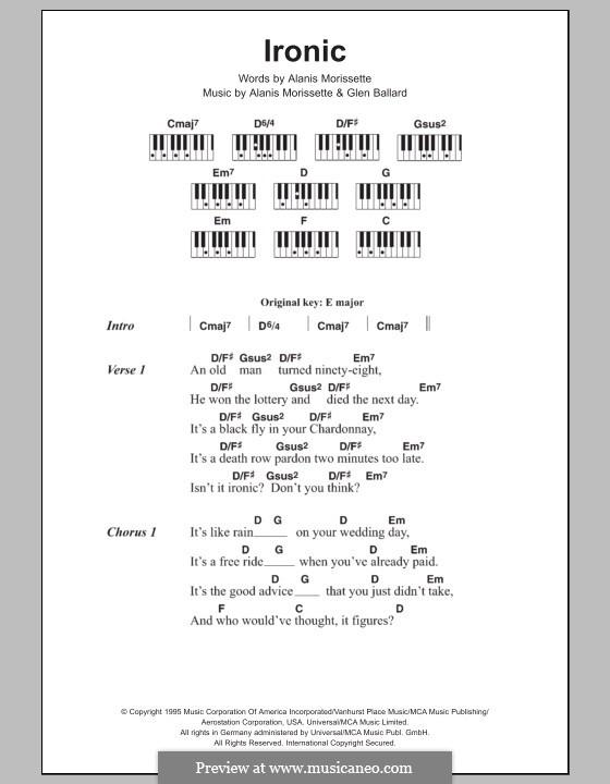 Ironic: Text und Akkorde für Klavier by Alanis Morissette, Glen Ballard