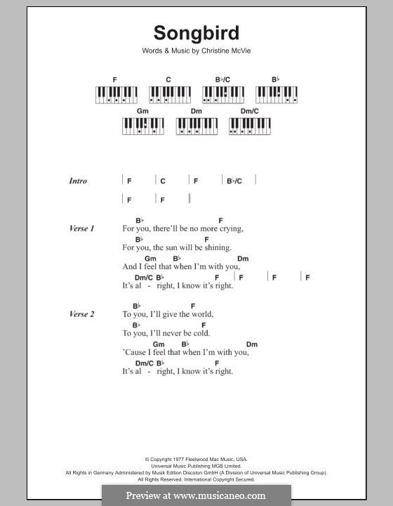 Songbird (Fleetwood Mac): Text und Akkorde für Klavier by Christine McVie