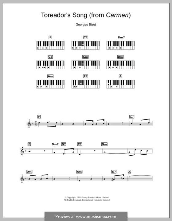 Toreador's Song: Für Keyboard by Georges Bizet