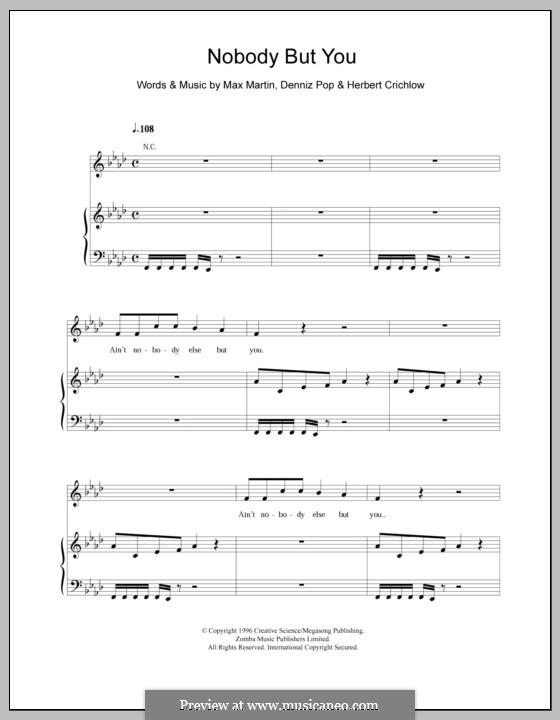 Nobody But You (Backstreet Boys): Für Stimme und Klavier (oder Gitarre) by Denniz Pop, Herbie Crichlow, Max Martin