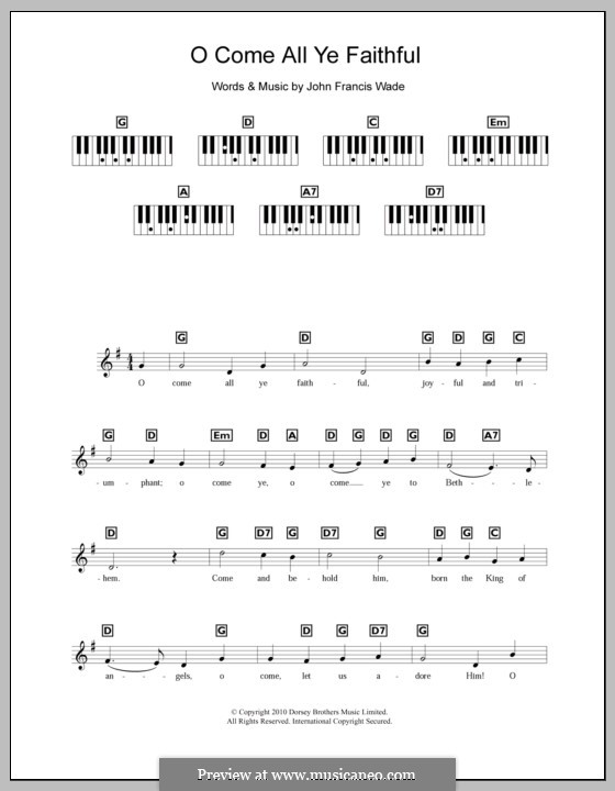 O Come, All Ye Faithful (Printable Scores): Für Keyboard by John Francis Wade