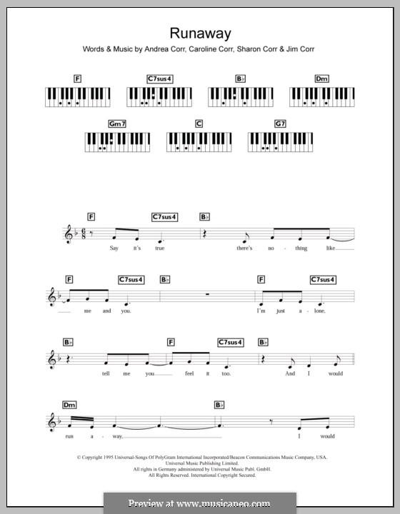 Runaway (The Corrs): Für Keyboard by Andrea Corr, Caroline Corr, Jim Corr, Sharon Corr