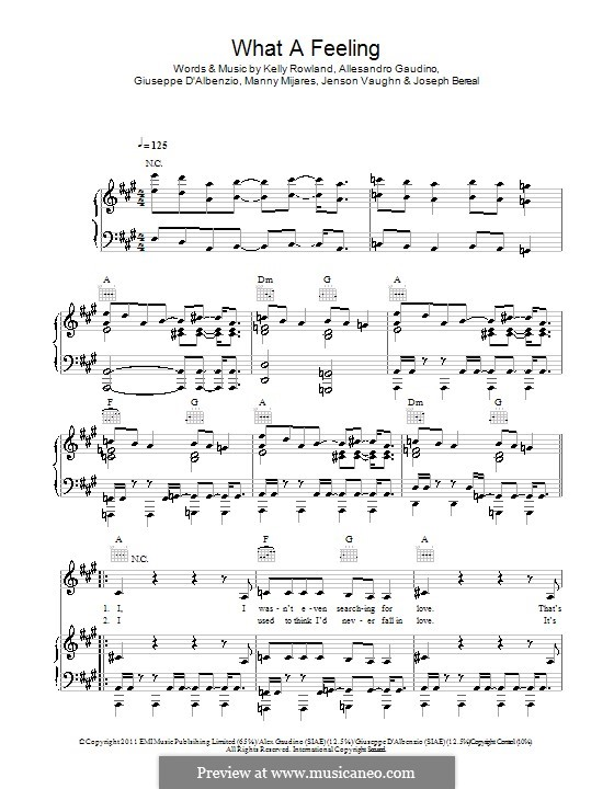 What a Feeling (Alex Gaudino feat. Kelly Rowland): Für Stimme und Klavier (oder Gitarre) by Allesandro Gaudino, Giuseppe D'Albenzio, Jenson Vaughn, Joseph Bereal, Kelly Rowland, Manny Mijares