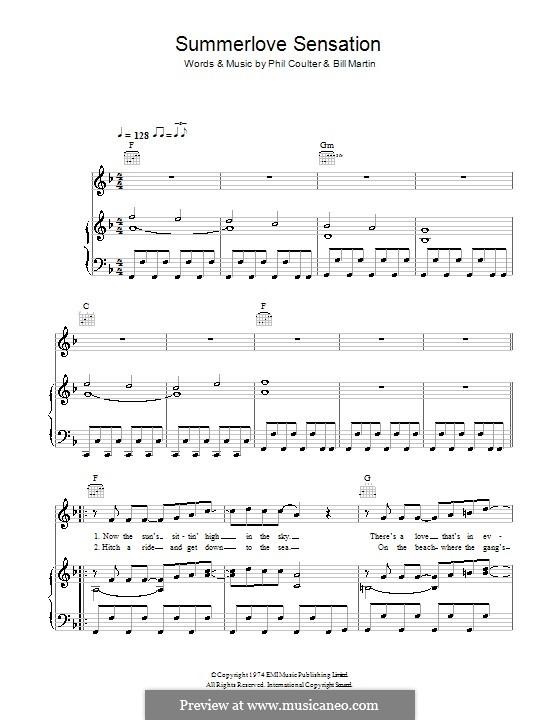 Summerlove Sensation (Bay City Rollers): Für Stimme und Klavier (oder Gitarre) by Billy Martin, Phil Coulter